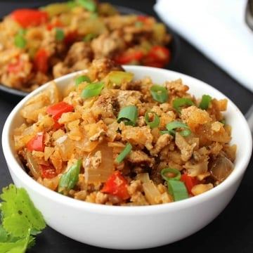 Cauliflower Rice Stir Fry Served scaled