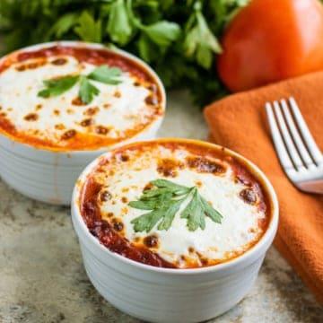 loq carb lasagna in bowls
