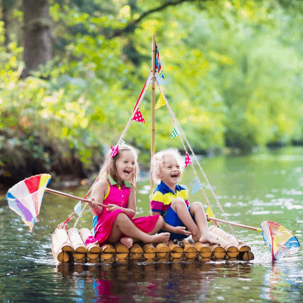 kids playing in the lake
